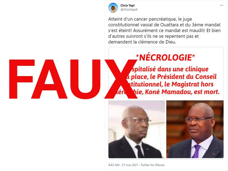 Le Conseil Constitutionnel ivoirien dément la mort de son Président après une fake news publiée par un Avatar.
