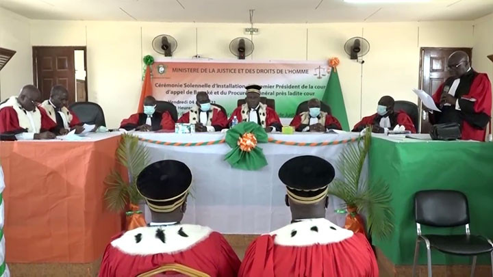Installation du 1er Président et du Procureur général de la Cour d'Appel de Bouaké