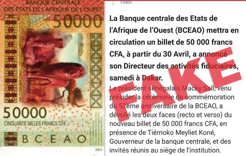 Non, la BCEAO n'a pas annoncé l'émission d'une nouvelle coupure de 50.000 F CFA