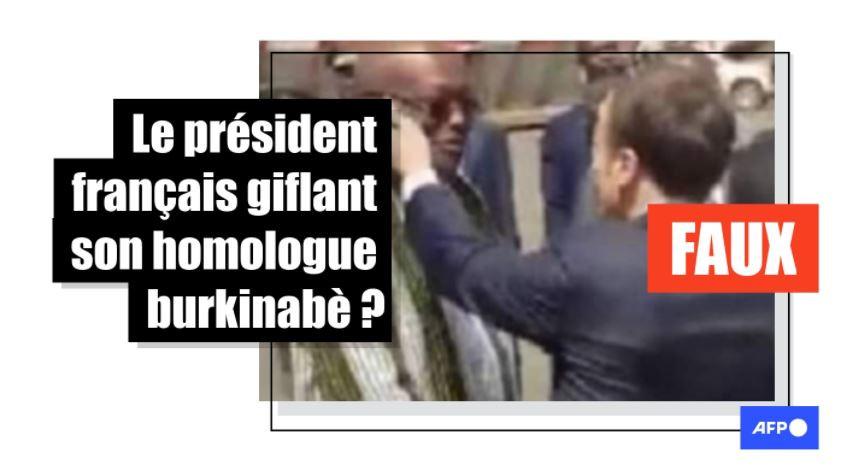 Emmanuel Macron qui gifle le président burkinabè Roch Kaboré ? Attention à ce message trompeur